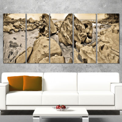 Rocky Praslin Seychelles Panorama Landscape Wrapped Canvas Art Print - 5 Panels