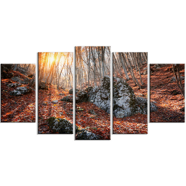 Designart Rocky Red Autumn Forest Landscape Photography Wrapped Canvas Art Print - 5 Panels