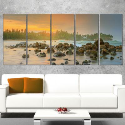 Designart Rocky Romantic Beach of Sri Lanka Landscape Artwork Wrapped Canvas - 5 Panels