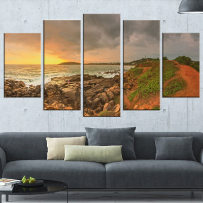 Designart Rocky Romantic Sri Lanka Beach OversizedBeach Wrapped Canvas Artwork - 5 Panels