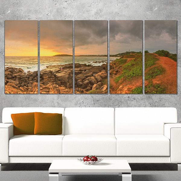 Designart Rocky Romantic Sri Lanka Beach OversizedBeach Canvas Artwork - 5 Panels
