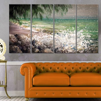 Designart Rocky Seashore With White Waves Large Seashore Canvas Print - 4 Panels
