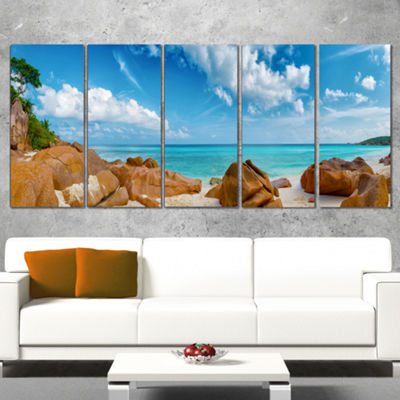 Designart Rocky Seychelles Island Panorama Oversized Beach Canvas Artwork - 4 Panels