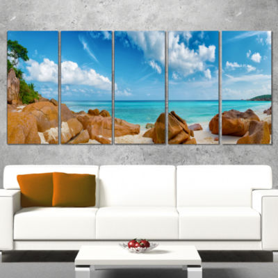 Designart Rocky Seychelles Island Panorama Oversized Beach Wrapped Canvas Artwork - 5 Panels