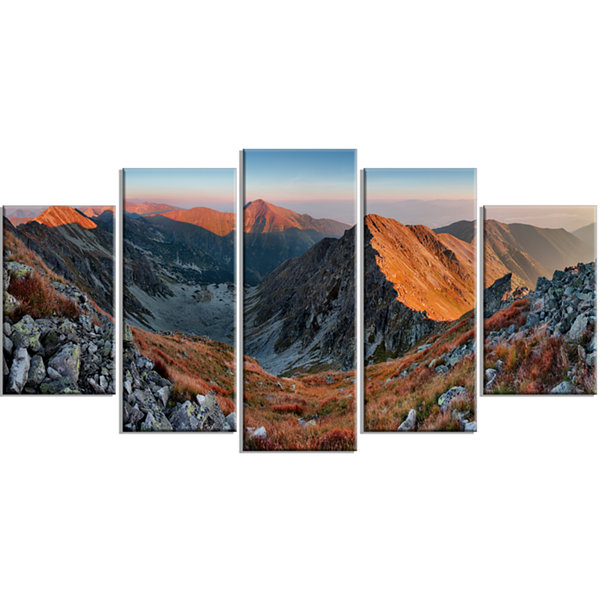 Designart Rocky Slovakia Mountains Landscape Wrapped CanvasArt Print - 5 Panels