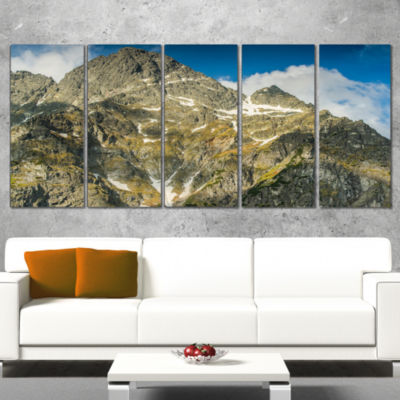 Designart Rocky Summit in Tatra Mountains Contemporary Landscape Wrapped Canvas Art - 5 Panels