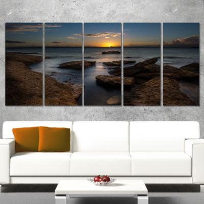 Designart Rocky Sydney Beach At Sunset Seascape Wrapped Canvas Art Print - 5 Panels