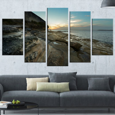 Designart Rocky Sydney Beach View Seascape WrappedCanvas Art Print - 5 Panels