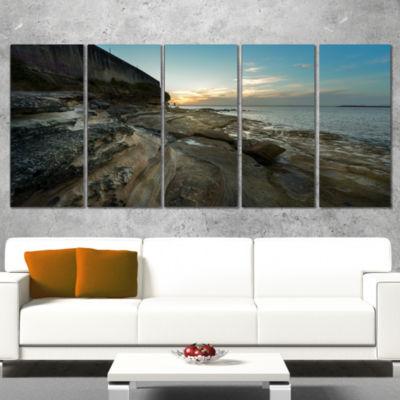 Designart Rocky Sydney Coastline Seascape Canvas Art Print -5 Panels