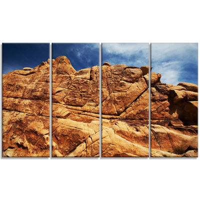 Designart Rocky Terrain Under Blue Sky African Landscape Canvas Art Print - 4 Panels