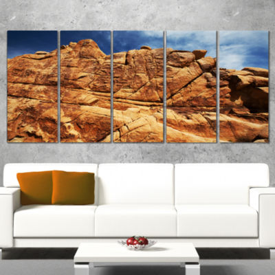 Designart Rocky Terrain Under Blue Sky African Landscape Wrapped Canvas Art Print - 5 Panels