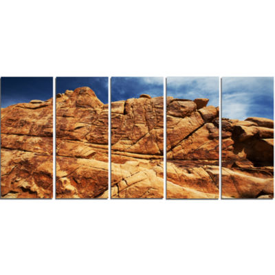 Rocky Terrain Under Blue Sky African Landscape Canvas Art Print - 5 Panels
