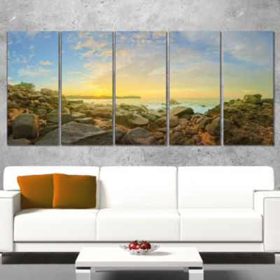 Designart Rocky Untouched Romantic Seashore LargeSeashore Wrapped Canvas Print - 5 Panels