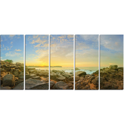 Designart Rocky Untouched Romantic Seashore LargeSeashore Canvas Print - 5 Panels