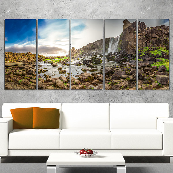 Designart Rocky Waterfall in Mountains Iceland Landscape Print Wall Artwork - 4 Panels
