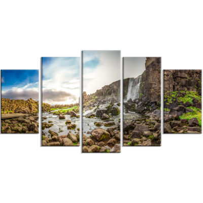 Rocky Waterfall in Mountains Iceland Landscape Print Wrapped Artwork - 5 Panels