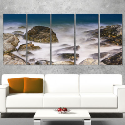 Designart Rocky Waves At Haeundae Coast Busan Seashore Canvas Art Print - 4 Panels