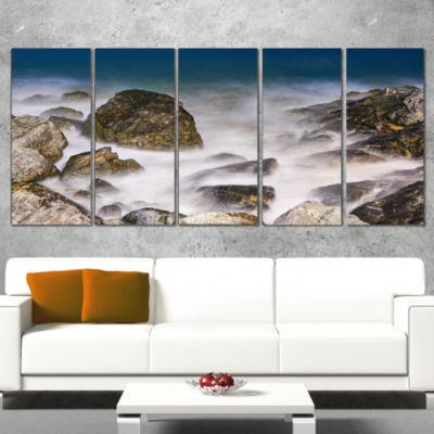 Designart Rocky Waves At Haeundae Coast Busan Seashore Wrapped Canvas Art Print - 5 Panels