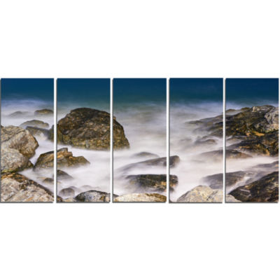 Rocky Waves At Haeundae Coast Busan Seashore Canvas Art Print - 5 Panels