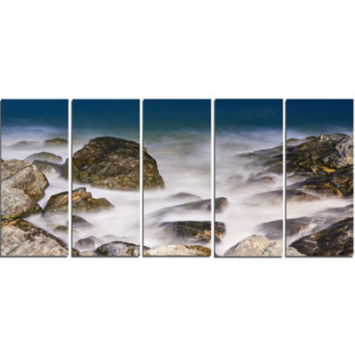 Designart Rocky Waves At Haeundae Coast Busan Seashore Canvas Art Print - 5 Panels