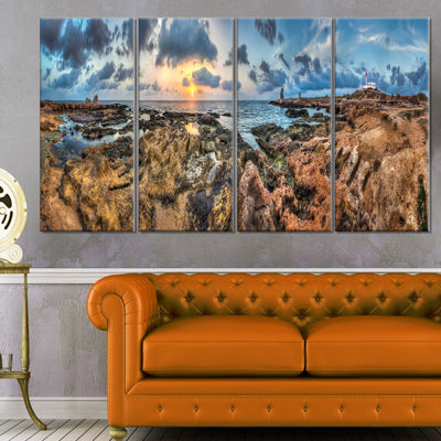 Designart Rocky With Historic Ruins Evening Landscape CanvasArt Print - 4 Panels