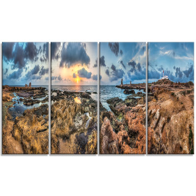 Rocky With Historic Ruins Evening Landscape CanvasArt Print - 4 Panels