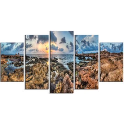 Designart Rocky With Historic Ruins Evening Landscape Wrapped Canvas Art Print - 5 Panels