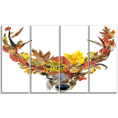 Designart Roe Deer With Flowers Floral Art CanvasPrint - 4Panels