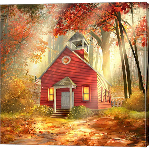 Metaverse Art Little Red Schoolhouse Gallery Wrap Canvas Wall Art
