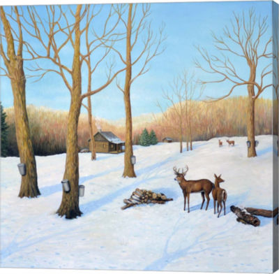 Metaverse Art Winter Cabin Gallery Wrap Canvas Wall Art