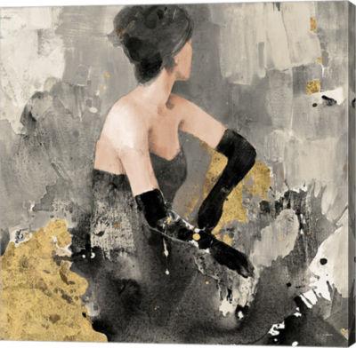 Metaverse Art Beautiful Gaze I Neutral Gold Gallery Wrap Canvas Wall Art