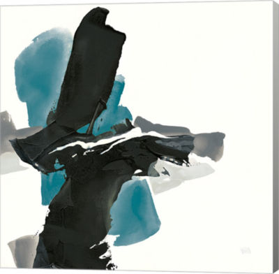 Metaverse Art Black and Teal IV Gallery Wrap Canvas Wall Art