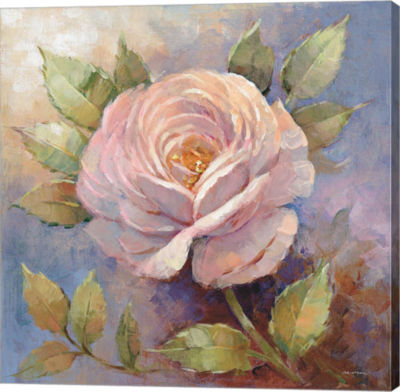 Metaverse Art Roses on Blue IV Crop Gallery Wrap Canvas Wall Art
