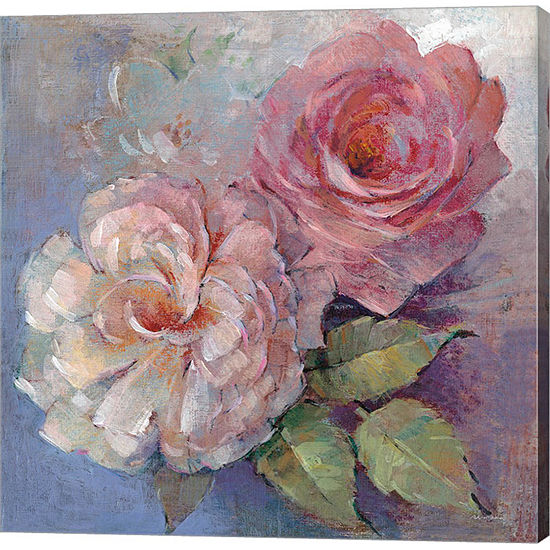 Metaverse Art Roses on Blue I Crop Gallery Wrap Canvas Wall Art