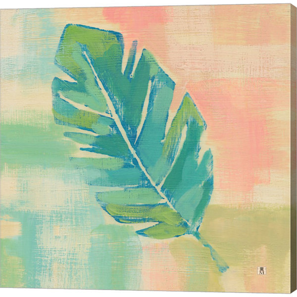 Metaverse Art Beach Cove Leaves III Gallery Wrap Canvas Wall Art