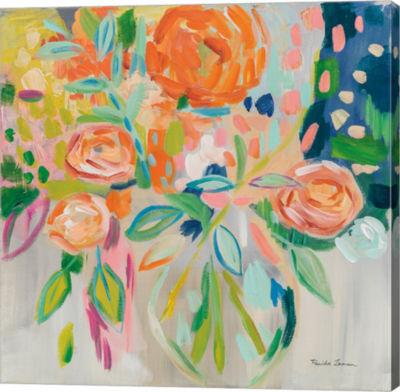 Metaverse Art Summer Orange Floral Gallery Wrap Canvas Wall Art