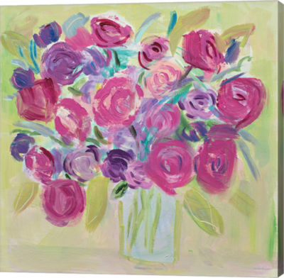 Metaverse Art Pink Roses Flower Gallery Wrap Canvas Wall Art