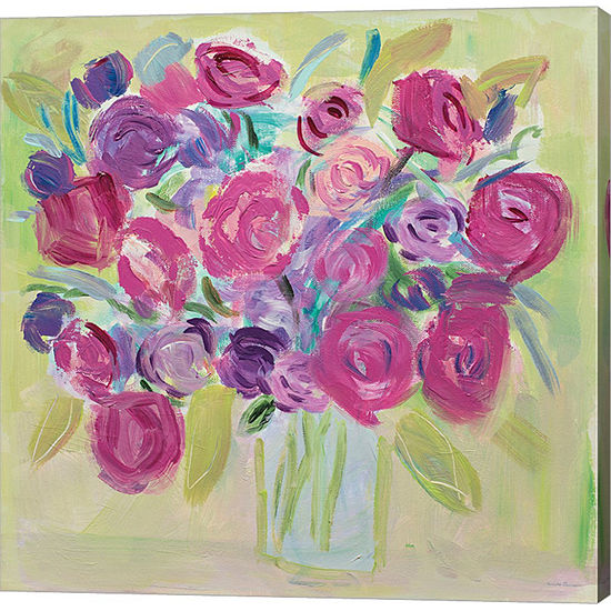 Metaverse Art Pink Roses Flower Gallery Wrap Canvas Wall Art