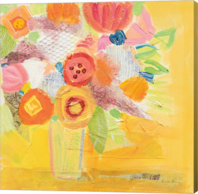 Metaverse Art Misty Yellow Floral Gallery Wrap Canvas Wall Art
