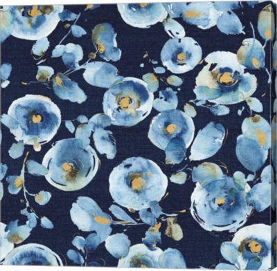 Metaverse Art Indigold Flower Toss Indigo Gallery Wrap Canvas Wall Art