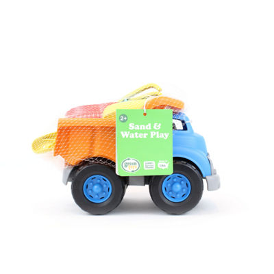 Green Toys Sand and Water Deluxe Play Set: Dump Truck with Boat Shovel and Rake