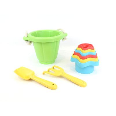 Green Toys Sand & Water Play Set: Bucket W/ ShovelRake & Cups