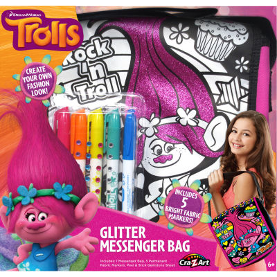 Cra-Z-Art Trolls Design Your Own Glitter MessengerBag Kit