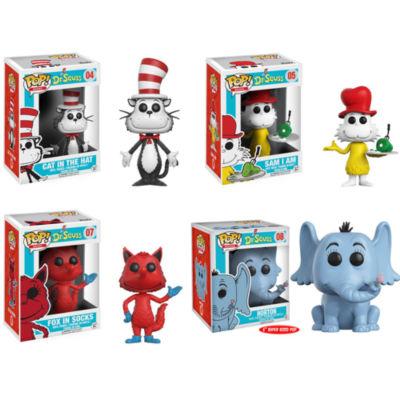 "Funko POP! Books Dr. Seuss Collectors Set; Cat inthe Hat- Horton 6""- Sam I Am- Fox in Socks"""