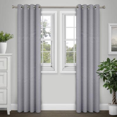 Journee Home Jayla 84-in Textured Jacquard Grommet Curtain Panel Pair