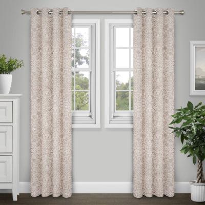 Journee Home Jen 84-in Jacquard Blackout Grommet Curtain Panel