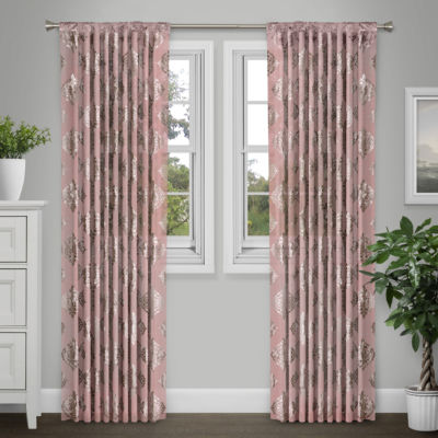 Journee Home Jeanne 84-in Sheer Metallic Curtain Panel