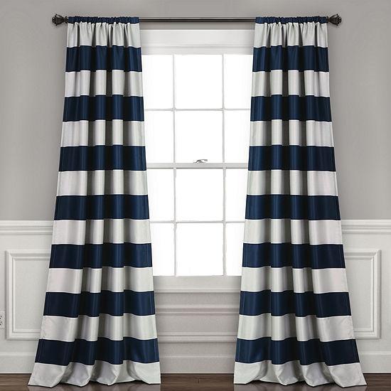Half Moon Stripe Blackout Window Curtain Set