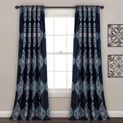 Half Moon Keya Medallion Room Darkening Window Curtain Set