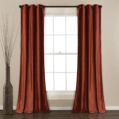 Half Moon Prima Velvet Solid Room Darkening Window Curtain Set